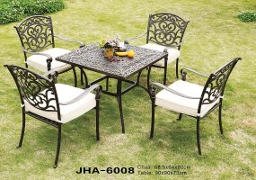 Delima Cast Aluminum Square Leisure Dining Set , JHA-6008
