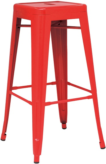 metal bar stool red