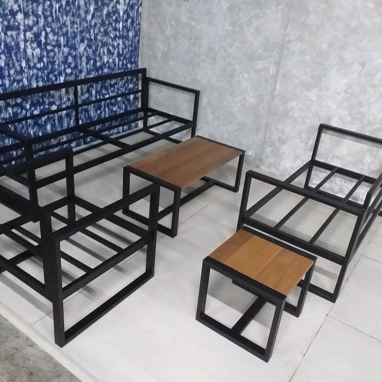 balau with mild steel furniture