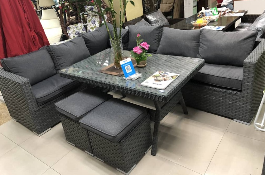 Synthetic wicker sofa set on sale