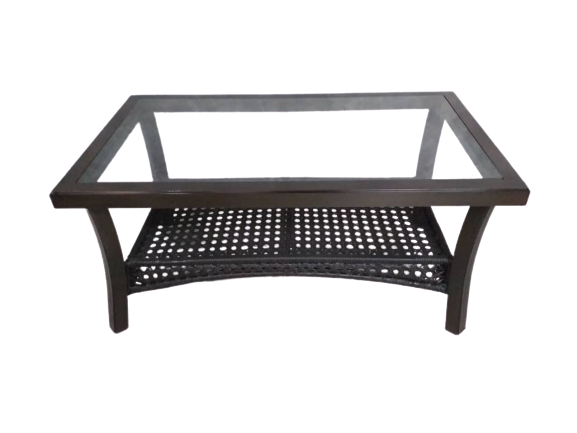 Rattan Coffee table With Wood Grain Aluminum Frame