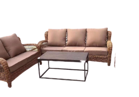 Danish Synthetic Rattan Design Sofa Set With Artificial Wood Table Top, JHA-0989