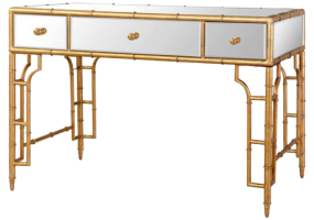 Aimee French Writing Desk Gold With White, JD-178