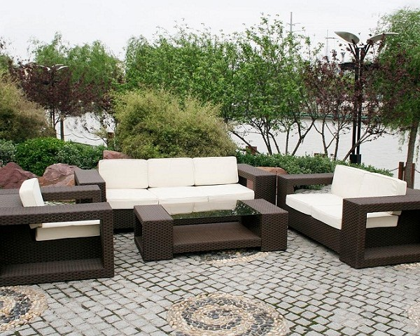 Modern contemporary design rattan wicker sofa set with one each of three seater, two seater, single seater and tea table set which adds to the beauty of sur