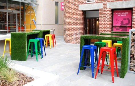 metal furniture with grass