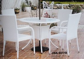Outdoor White Wicker Patio Set , JHA-027A