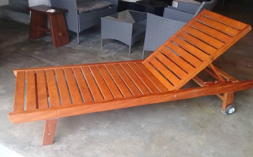 wooden lounger stock
