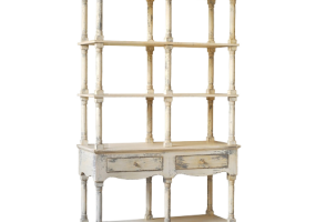 Adela Distressed White French Country Bookcase, JD-522