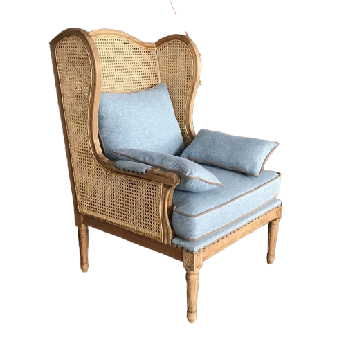 French Wingback Cane Rattan Armchair