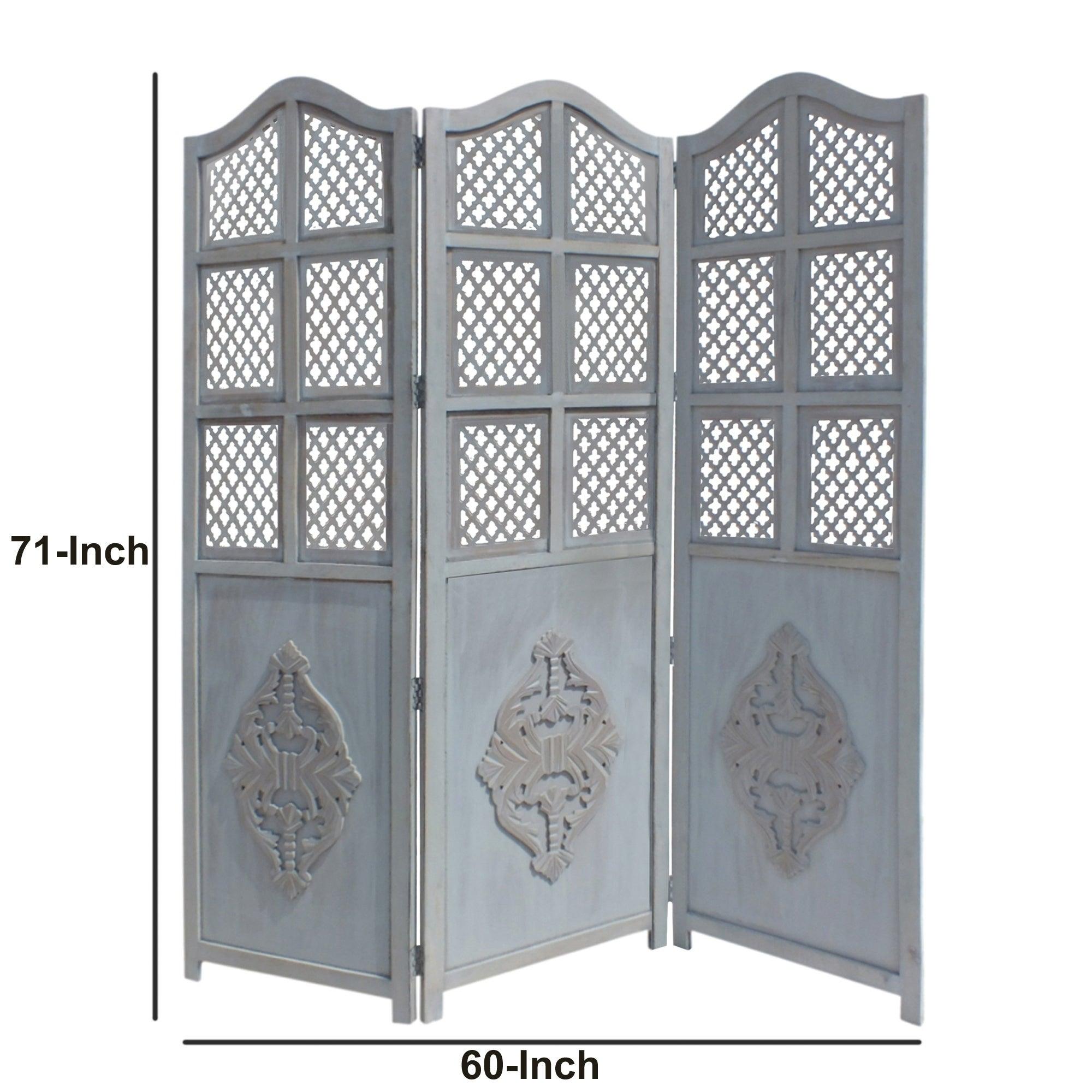 Wooden-3 Panel Foldable Room-Divider Blue