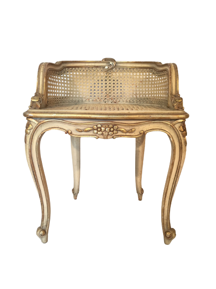 Hollywood Regency French Provincial Gold Gilt Cane Vanity Stool,