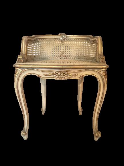 Hollywood Regency French Provincial Gold Gilt Cane Vanity Stool,