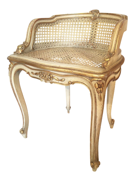 hollywood regency french provincial gold gilt cane vanity stool