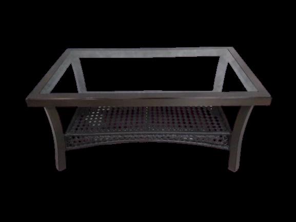 Rattan Coffee table With Wood Grain Aluminum Frame