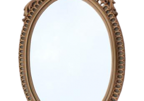 Cinderella French Brocante Style Vintage Wall Mirror Gold Rococo Frame Oval Glass, JD-387