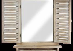 Villanueva Window Shutter Wall Mirror With Shelf & Towel Rod, JD-389