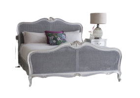 Alexandria French Silver Rattan Bed, JD-665