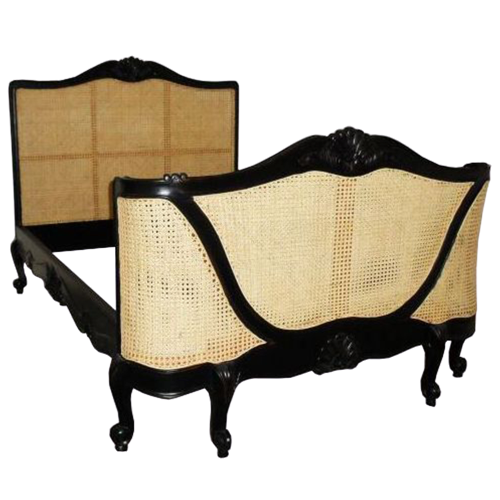 Rattan Black Antique French Style Bed,