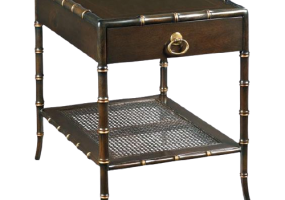 Aimee French Bamboo Design Side Table With Glass Top & Cane, JD-686