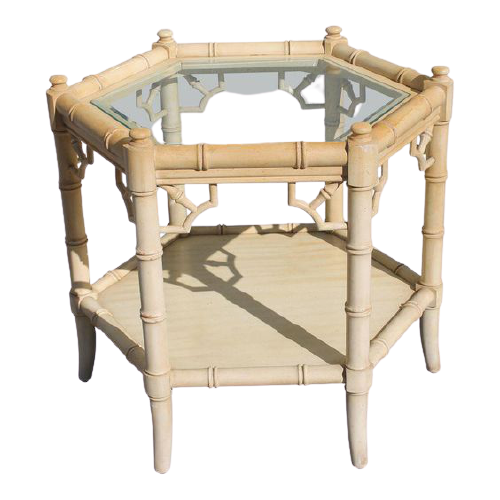 Aimee French Octogonal Side Table Bamboo Design