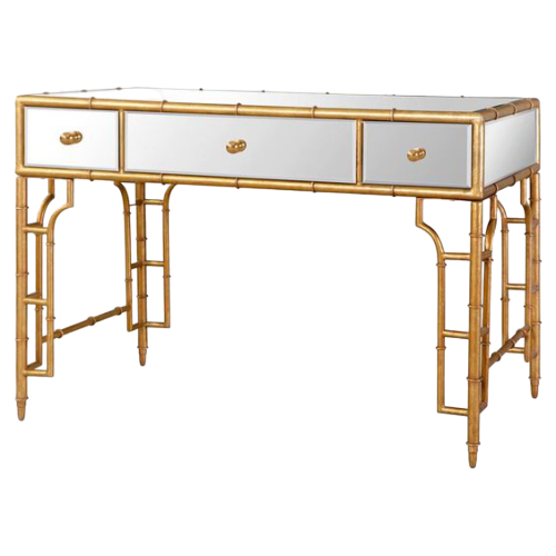 Aimee French Writing Desk Gold with White
