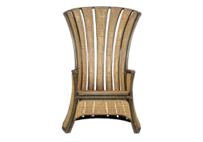 Bella Mid 20th Century Peacock High Chair In Bamboo And Rattan, JD-2049