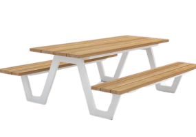 Picnic Modern Dining Table With Bench , KTS-138