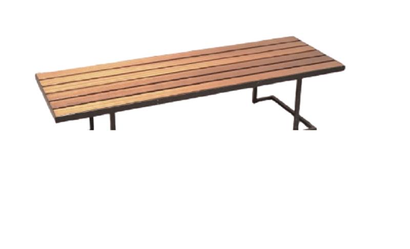Minimalist Bench in Balau Wood and Metal,
