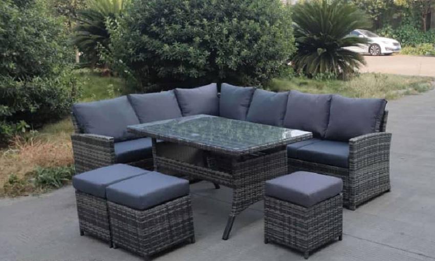 L Shape Wicker Sofa Set,
